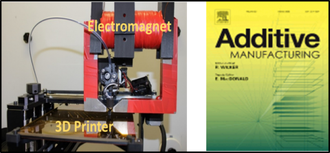 Depiction of the magnetic-field aligning permanent magnet-producing apparatus, photograph of apparatus and journal cover.
