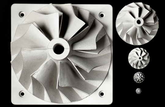 "Al-Ce alloy-based turbocharger compressor wheels from 6"" to 0.3"" produced by Additive Manufacturing using newly designated aluminum-cerium alloy."