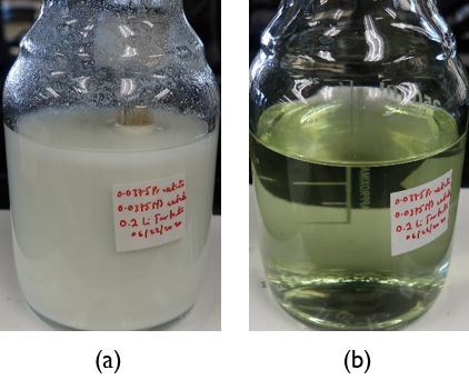 0.0375 M Pr acetate, 0.0375 M Nd acetate, 0.2 M lithium tartrate (a) before dissolution of precipitate (b) after adjusting pH.