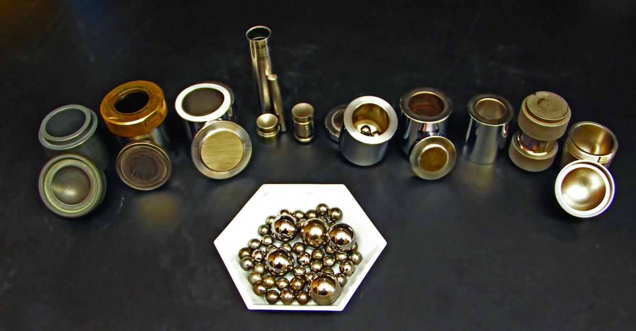 Assortment of ball milling canisters and stainless steel balls