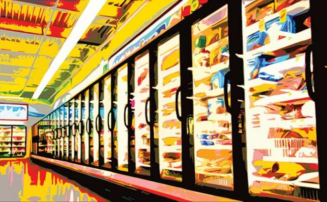 Commercial refrigerators in a grocery store