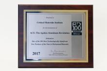 plaque for R&D 100 Award for CMI technology, a novel aluminum-cerium alloy